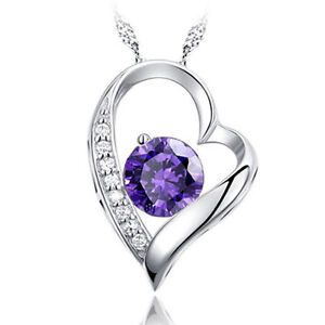 White-Gold-Chain-Necklace-Heart-Silver-Pendant-Purple-Wedding-Birthday-Gift