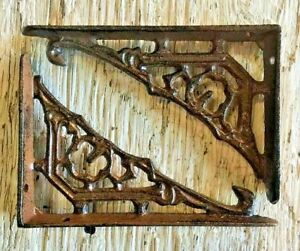 Antique Rustic Brown patina cast iron SET OF 2 WESTERN STAR SHELF BRACKET//BRACE