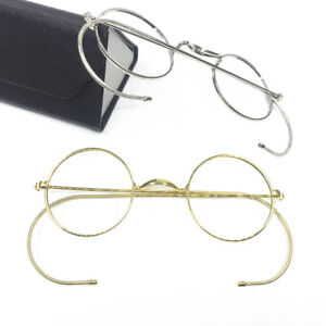 9de369850cf9e Image is loading Vintage-Round-Antique-Wire-Rim-Eyeglass-Frames-Full-