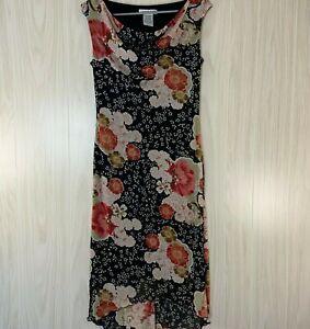 Jonathan-Martin-Floral-Mesh-Midi-Dress-Women-039-s-Size-M-Black