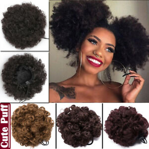 US-Afro-Hair-Bun-Synthetic-Kinky-REAL-Curly-Ponytail-Puff-Drawstring-Extension-J