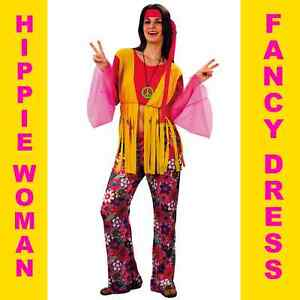 Da Donna Hippy Hippie Donna Costume Anni/'60/'70 FANCY DRESS