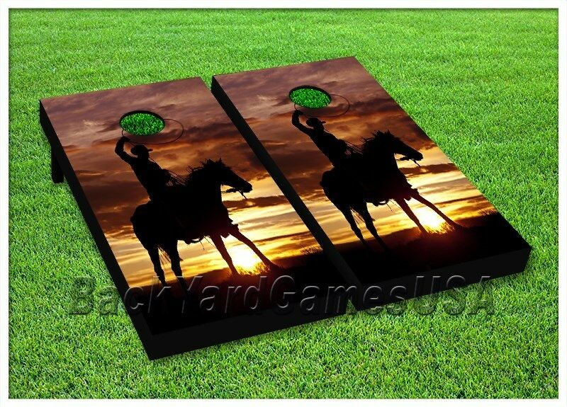 COWBOY Cornhole Boards BEANBAG TOSS GAME w Bags Rodeo Ranch Horse Farm Set 169