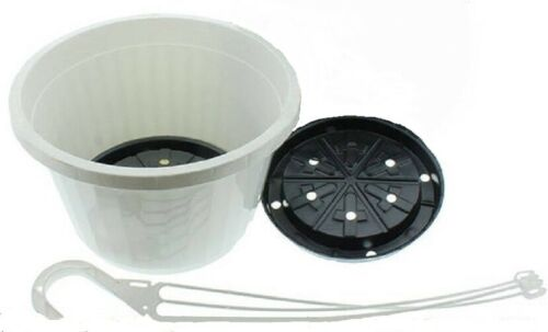 White Plastic Hangers /& Saucers Hanging Flower Pots 5 Hanging Baskets