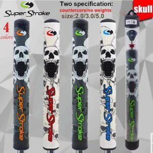 Super Stroke Skull Mid Slim Putter Grip Black / Green  3.0 Countercore +50g wt!