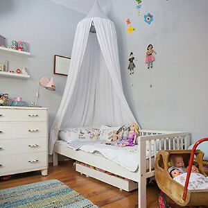 White Cotton Canopy Bedcover Mosquito Bedding Net Baby Read Sleep Tent USA Sale