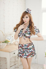 Sexy Army Combat Girl Military Uniform Costume for Cosplay & Lingerie Party New