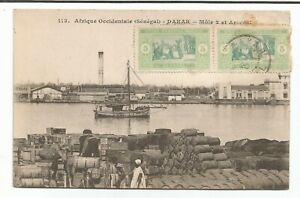 1913-Senegal-SC-82-A-Pair-stamp-on-Postcard-1920s-Dakar-to-Finistere-France