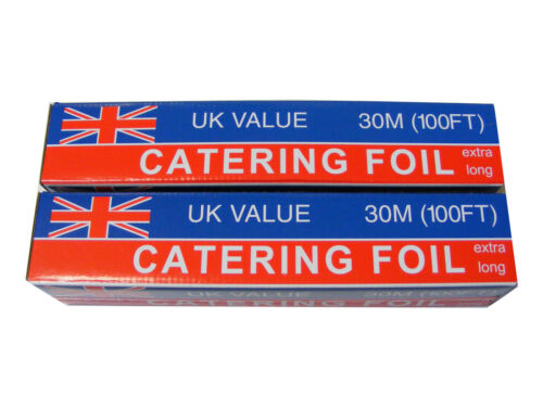 2 ROLLS OF 30M x 300mm PROFESSIONAL QUALITY ALUMINIUM KITCHEN CATERING FOIL