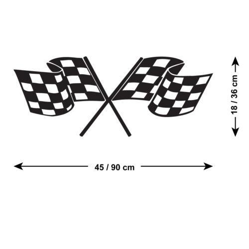 Drapeau à Damier Autocollant Mural-Drapeau à damiers-Motor Racing Autocollant Mural