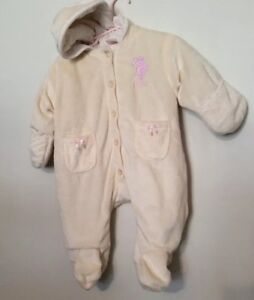 f50a6bbd72e7 US Polo Assn Girl s Snowsuit Bunting Ivory Pink Size 0-3 Months ...