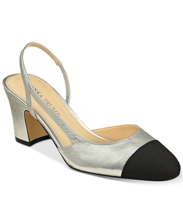 New Womens Ivanka Trump Liah Slingback Block-Heel Block-Heel Block-Heel Pumps Sandal shoes  9.5 silver dc5951