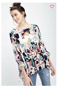 Womens-Fashion-Floral-Light-Rayon-Dolman-Sleeve-Tunic-Top-Loose-Fit-USA-Seller