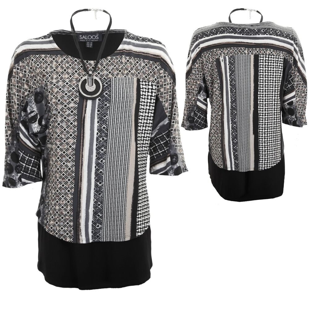 Collection Ici Femme Baggy Batwing Manches 3/4 2in1 à Rayures En Couches Collier Shirt Top Dernier Style