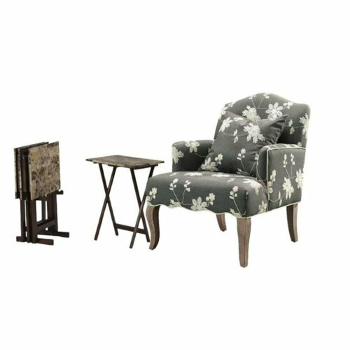 Living Room Set with Accent Chair, Tray Tables, and Storage Stand