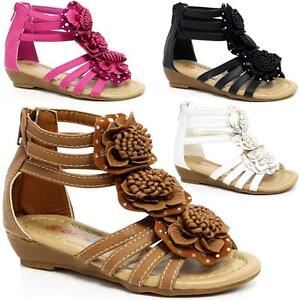 c418932746a Girls Summer Sandals New Low Wedge Fancy Gladiator Dress Party Beach ...