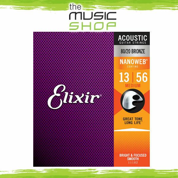 12 x Elixir Nanoweb 13-56 80 20 Bronze Acoustic Guitar Strings Medium 11102 Bulk