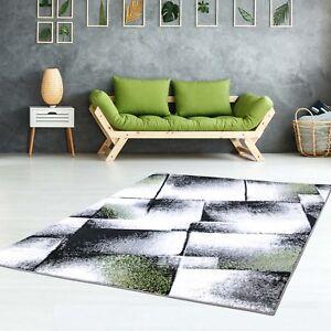 Teppich Flachflor Konturenschnitt Friseé Meliert Modern Grün Grau ...
