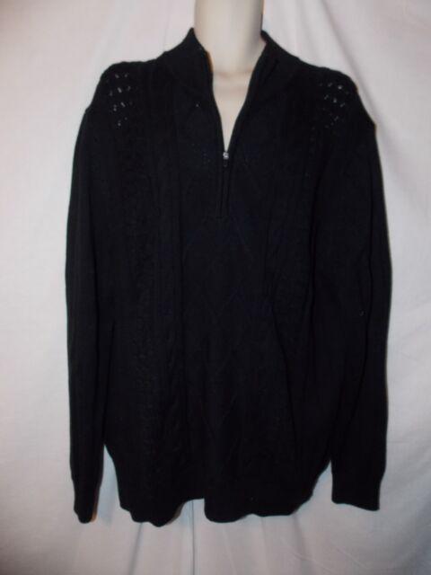 Izod Lt Mens Heavy 14 Zip Neck Cotton Cable Knit Black Sweater Big