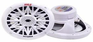 Pyle Marine Audio PLMR692 Dual 6 x 9 Water Resistant Speakers, 2-Way Full Range Stereo Sound, 260 Watt, White Canada Preview