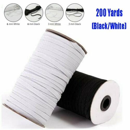 "Length DIY Braided Elastic Band Cord Knit Sewing 1//8/"" 1//4 /"" 180m 100//200 Yards"