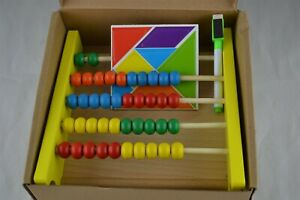 Wooden Abacus, Educational Math Tool & Calculator w/Games for Kids