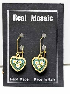 Made-In-Italy-REAL-Mosaic-Heart-Shaped-Wire-pierced-Gold-Tone-Earrings-Vintage