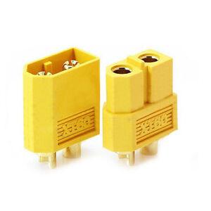 5-Paar-Nylon-XT60-Lipo-Hochstrom-Stecker-Buchse-Goldstecker-Gelb-GY-O7D1