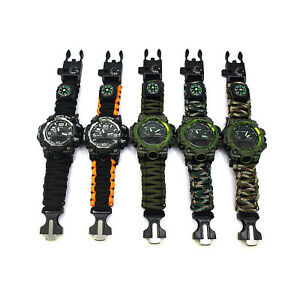6 in 1 Outdoor Hiking Camping Travel Replace Tactical Survival Watch Black
