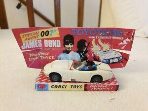 RARE Corgi 336 James Bond Toyota 2000GT excellent condition with Repro box