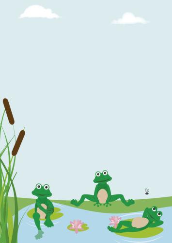 10 Kuverts Frosch Teich lustige Frösche Set Motivpapier Briefpapier 20 Blatt A4