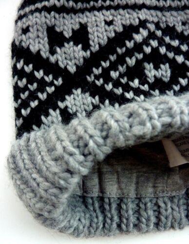 ZARA Boys KIDS Knitted BLACK GREY Lined Geo Winter Argyle Beanie Hat UKS M L