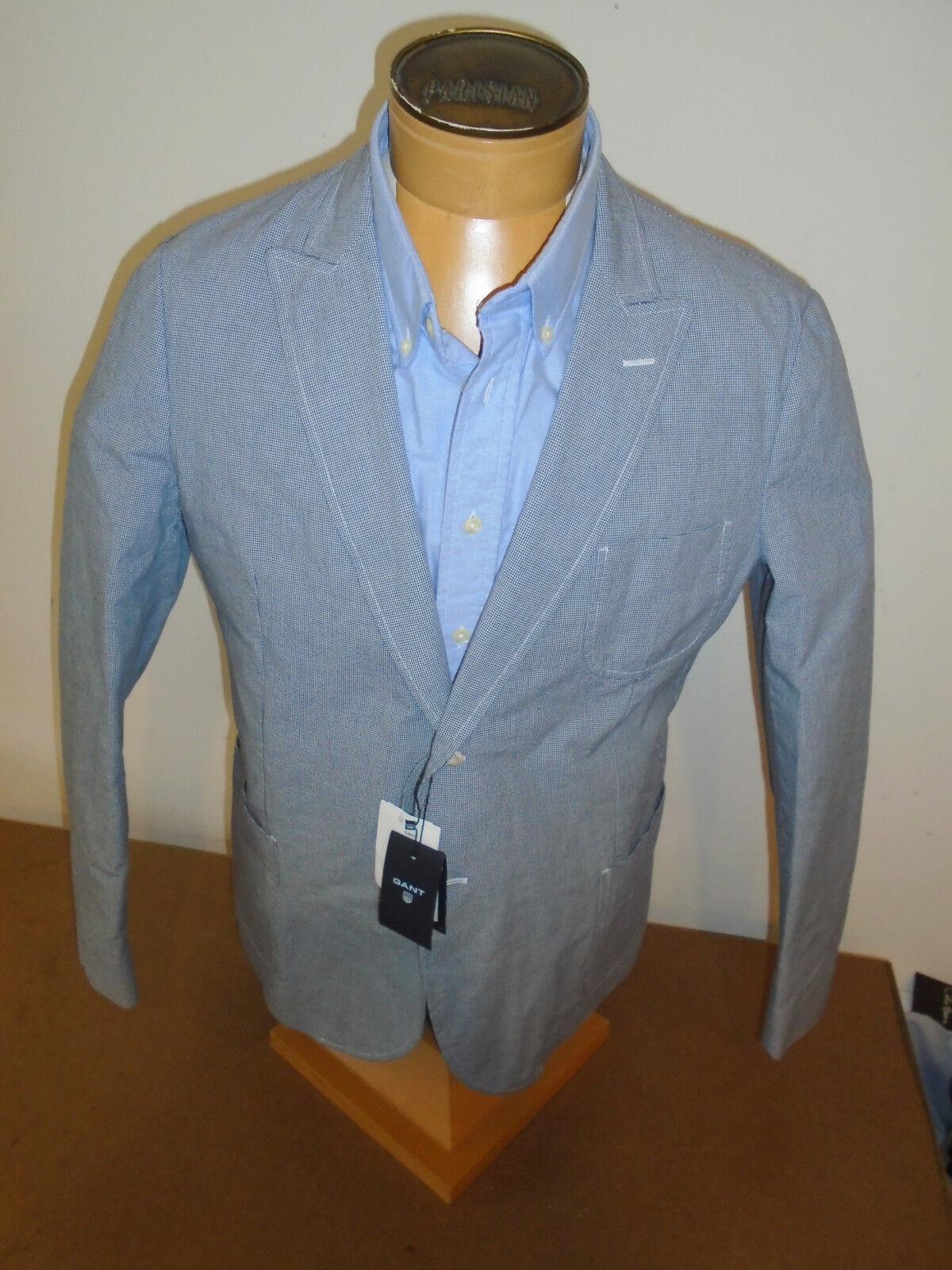 Gant Micro Houndstooth Pattern Peaked Lapel Cotton Sport Coat NWT 44 R 550 Blau