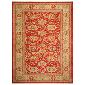 10-039-4-034-x-13-039-7-034-Authentic-Hand-Knotted-Oushaak-Wool-Oriental-Area-Rug-Orangy-Red