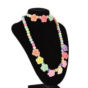 Lovely-Kids-Necklaces-Bracelet-Rose-Shaped-Baby-Girl-Party-Multicolor-FaYNUK