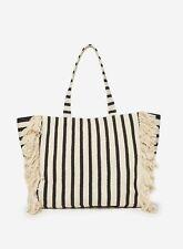 Dorothy Perkins Womens Multi Stripe Fringe Beach Shopper Bag Magdot Closure