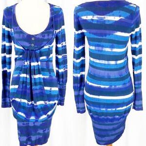 Karen Millen Womens Blue White Tie Dye Long Sleeve Scoop Neck Sweater Dress XS/2