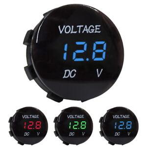 5V-25V-DC-Voltmeter-LED-Digitalanzeige-Einbau-Rund-Wasserdicht-Auto-Motorrad-KFZ