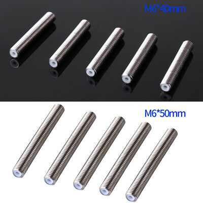 Nozzle Throat,3D Printer Extruder Tube 5pcs Stainless Steel M6 Nozzle Throat PTFE Tube Accessary for 3D Printer MK8 Extruder 1.75mm M640mm