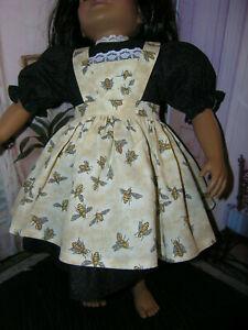 Black-Dress-Bumble-Bee-Print-Apron-2-piece-Dress-23-034-Doll-clothes-fit-My-Twinn