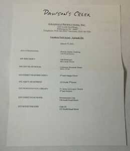 DAWSON-039-S-CREEK-set-used-paperwork-LOCATION-SCOUT-SCHEDULE-Season-5-Episode-21