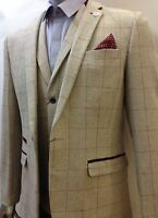 Mens Marc Darcy Designer Cream Tweed Herringbone Checkered Vintage 3 Piece Suit