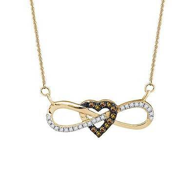 """10K Yellow Gold Chocolate Brown Diamond Infinity Heart Necklace 18"""" Length .15ct"""