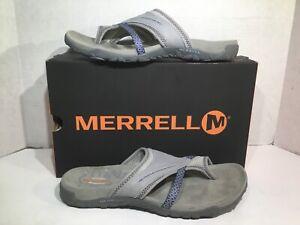 Merrell-Womens-Size-9-EU-40-Terran-Post-II-Sleet-Leather-Sandals-Slides-ZD-492