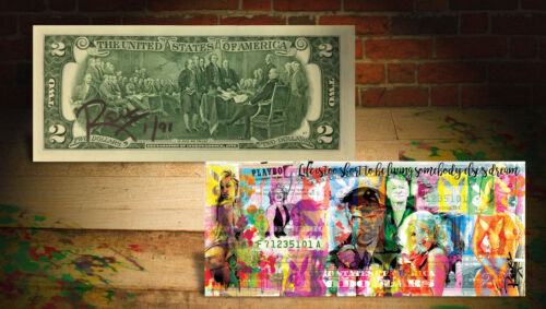 Bill SIGNED by RENCY Numbered of 91 LIFE PLAYBOY Hugh Hefner OFFICIAL $2 U.S