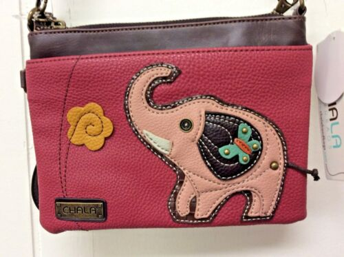Chala Elephant Mini Crossbody Dark Pink Bag Small Convertible Purse New