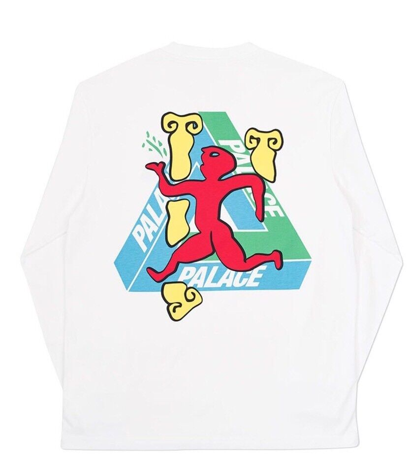 PALACE SKATEBOARDS WINTER 17 DANCING MAN LONGSLEEVE T-SHIRT TEE Weiß XL TRIFERG