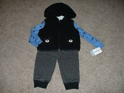 Carters Baby Boy Bear Sherpa Fleece Vest Outfit Set Size 3 12 Months 3M 12M NWT