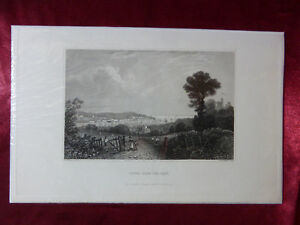 Antique-engraving-of-COWES-FROM-THE-EAST-ISLE-OF-WIGHT-c1830-Rare-art-print