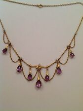 Delightful Fine Art Nouveau 15ct Gold Amethyst & Baroque Pearl Pendant Necklace